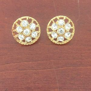 Gold-Colored Earrings With Diamond-Looking Gems